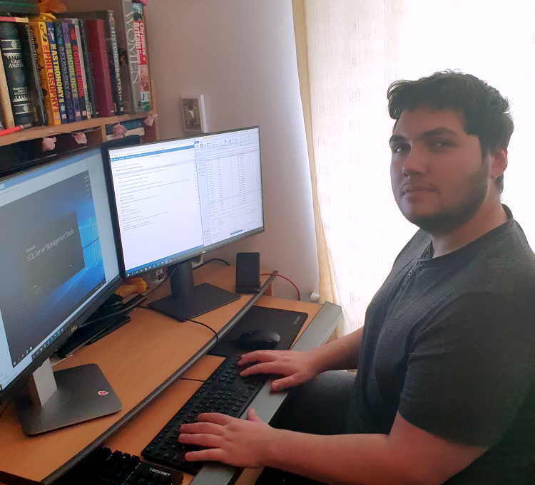 Isaac during his summer placement at Yokogawa Marex, now a Trainee Software Test Engineer and University of Portsmouth Student